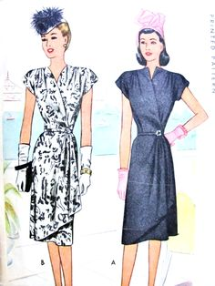 1940s STUNNING Wrap Dress Pattern McCall 6440 Film Noir Cocktail Evening Wrap Dress Surplice Neckline Flirty Cascade Side Drape Bust 40 Vintage Sewing Pattern