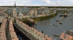 Paris au Moyen-Âge. Le Pont-au-Change entre Cité et Châtelet. Il doit son nom aux boutiques de joailliers, orfèvres et changeurs qui contrôlaient et régulaient les dettes des communautés agricoles pour le compte des banques en formant un front bâti.