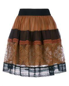 ALBERTA FERRETTI   Mini Skirt with Lace Panel