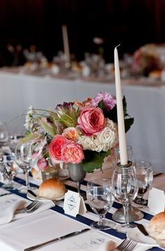 Just the right size centerpieces to compliment larger displays and allow for family style service