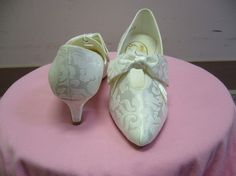Vintage 80s White Short Bridal Heel  Shoe by BridalDiscoveries, $47.00