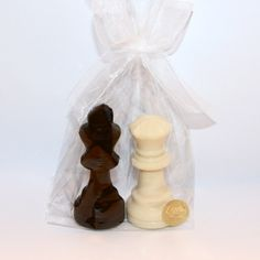 A pair of chocolate chess pieces for a bride and groom! The King and Queen make elegant parting gifts for wedding guests!