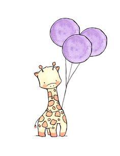 Giraffe holding Balloons