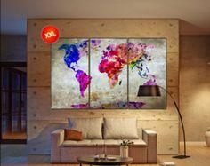 Mapa de mundo extra grande arte de la pared pintura por RightGrain