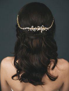 Bridal Hair Chain  Bridal Halo  Gold Wedding Hair by DavieandChiyo
