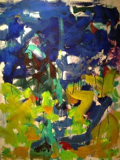 Joan Mitchell Border 1989 oil on canvas 45.5 x 35 inches. Mitchell was initially inspired by De Kooning. Her paintings 'seem more joyful than the angst-ridden work of her fellow abstract expressionists' (Understanding Paintings, Alexander Sturgis, Mitchell Beazley).