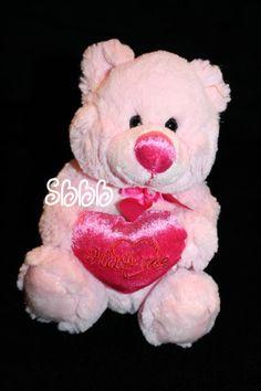 "Walmart bear pink plush teddy Valentine heart hug me sits 7"" nose bow soft small"