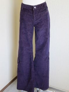 Athleta size 12 dark purple coduroy cargo boot cut stretch casual pants