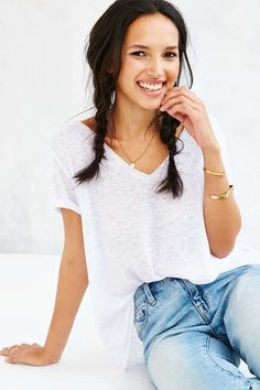 Project Social T Textured-Knit V-Neck Tee - Urban Outfitters