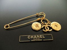 Authentic Vintage Chanel pin brooch gold CC medal safety pin by Chanel | Vintage Five
