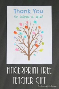 fingerprint tree teacher gift -- print this tree and add the fingerprints of the classroom for a great end of the year gift for any teacher....