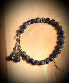Blue Spotted Sodalite Stones with Silver Accents by FlowerFelicity, $13.99