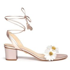 Charlotte Olympia 'Tara' daisy appliqué metallic leather sandals ($664) ❤ liked on Polyvore featuring shoes, sandals, heels, pink, lace-up sandals, leather sandals, leather heeled sandals, heeled sandals and self tying shoes