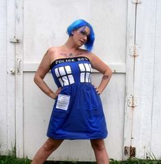 POLICE BOX party dress Halloween Cosplay TARDIS inspired Doctor Dr Costume Who | eBay