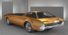 and the customized, front wheel drive powered Oldsmobile Toronado customized open bed specialty vehicle. Custom Trucks, Custom Cars, Audi, Porsche, Cool Trucks, Cool Cars, Big Trucks, Pickup Trucks, Van 4x4