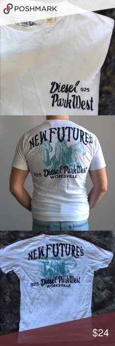 """Diesel Men T-shirt Diesel t-shirt. Front is plain white with """"diesel 925 Park West"""" letters on the left chest area. On the back, it has the """"New Future's 925 Diesel Park West Worksville"""" and pattern as shown in the picture. 100% Cutton Diesel Shirts"""