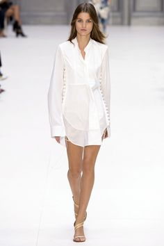 Love this White Short Tuxedo Shirt Styled Dress with Side Buttons by Chloé, Look #31