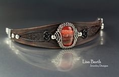 Hand woven bezel in sterling silver with a hand made to fit leather bracelet.  - Lisa Barth