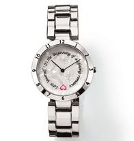 FOREVER Selected by Paula Abdul Timeless Inspiration Disc Watch-Rotating disc with inspirational message functions as second hand on dial. Silvertone case. Silvertone bracelet. Regularly $30.00, buy Avon cosmetics online at http://eseagren.avonrepresentative.com
