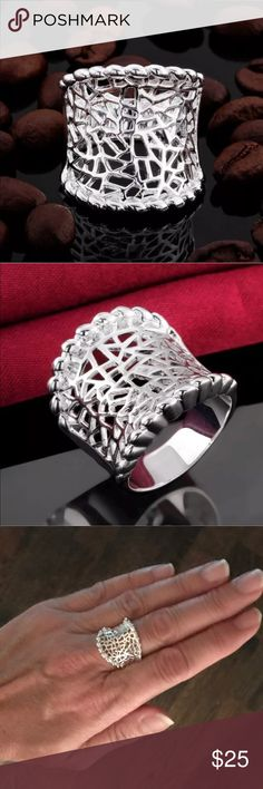 """NWOT Sterling Silver Beaded Cut Out Statement Ring Make a statement wearing this polished cut out ring with Beaded edging.  Sterling silver plated.  Approx 7/8"""" x 7/8"""". Jewelry Rings"""