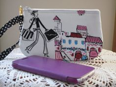 Wristlet Zipper Gadget Pouch Purse in Girls Love to Shop Made in USA - pinned by pin4etsy.com