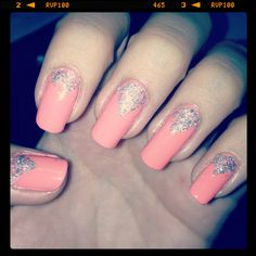V stud mani Coral/Pink