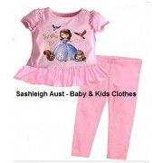 Sofia The First PJ's  Gorgeous pink PJ's with T-Shirt and long pants.  T-Shirt has a lovely picture of Sofia on the front. Ruffles around the arm and gathered bottom on t-shirt. Pants have an elastic waist.  T-Shirt is designed to have a bit of length to it.  100% Cotton.