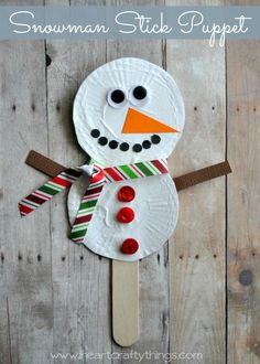 Make a snowman stick puppet for pretend play or to reenact your favorite snowman story. We paired it with Snowman at Christmas by Caralyn Buehner. Fun little Christmas and Winter Craft for Kids. From I Heart Crafty Things