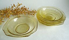 4 Madrid Amber Depression Berry Bowls Federal 1930s by TreasureCoveAlly on Etsy