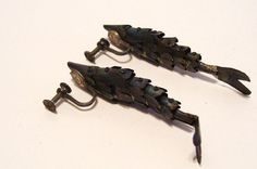 Vintage Articulated Fish Earrings Sterling by okanaganvintage