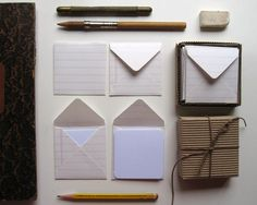 tiny envelopes made from notebook paper