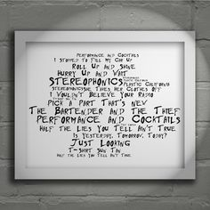 Stereophonics Performance and Cocktails 'Noir Paranoiac' limited edition typography lyrics art print, signed and numbered album wall art poster available form www.lissomeartstudio.com