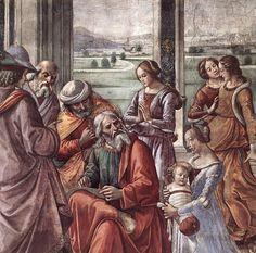 Доменико Гирландайо. Правая стена. Истории святого Иоанна Крестителя. Захария записывает имя Сына Его (фрагмент). 1486-90 Капелла Торнабуони. Фреска. Santa Maria Novella, Флоренция