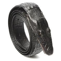 Men Crocodile Skin Imitation Second Floor Cowhide Leather Alloy Adjustable Buckle Belt