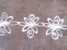 Border kolam with dotts& flower designs - YouTube