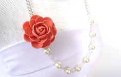 Coral Flower Necklace Dahlia Flower Necklace by Diaszabo on Etsy, $25.00