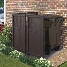 Suncast Wicker 44 In Resin Screen Enclosure Fsw4423 The Home Depot In 2020 Outdoor Trash Cans Screen Enclosures Front Yard Decor