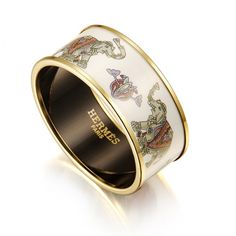 Gold Hermes Elephant Bracelet With White Enamel Color Material Size Diameter2 45 Width1 1 Package Box