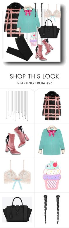 """""""Pink boots + faux fur"""" by soulchicjourneyatelier ❤ liked on Polyvore featuring Shrimps, Robert Clergerie, Gucci, Eberjey, Yves Saint Laurent and Simone Rocha"""