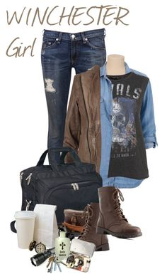 """""""Supernatural fandom outfit. Winchester girl. Dean and Sam."""" by kamication ❤ liked on Polyvore featuring rag & bone, AllSaints, Goodhope Bags and Charlotte Russe"""