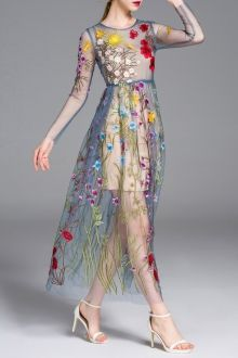 Floral Embroidered See-Through Long Sleeve Dress
