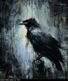 One of three great paintings of Ravens by Lindsey Kustusch