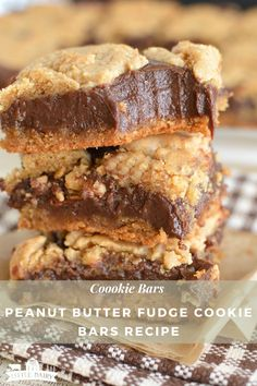 Cookie Bars Peanut Butter Fudge Bars have a layer of chocolate sweetened condensed milk fudge nestled between two layers of irresistible peanut butter cookies! Best of all, they are quick and easy to make. Fudge Cookies, Cookie Bars, Bar Cookies, Sweetened Condensed Milk Fudge, Comida Keto, Peanut Butter Fudge, Mini Cheesecakes, Cookies Et Biscuits, Dessert Bars