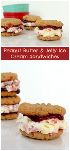Peanut Butter and Jelly Ice Cream Sandwiches | www.chocolatewithgrace.com | #icecream #peanutbutter #jelly