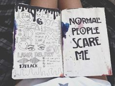 wreck this journal american horror story Tumblr Drawings, Doodle Drawings, Doodle Art, Tumblr Tattoo, Notebook Doodles, Music Notebook, Notebook Drawing, Drawing Journal, Bild Tattoos