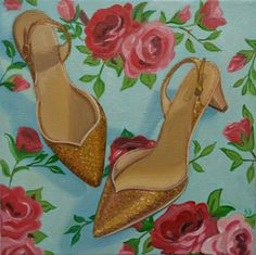 Oil Painting of Shoe, Still Life, Original Oil, High Heels, Gold, Floral Wallpaper, Red Rose, Fashion Illustration, 8x8 Stretched Canvas