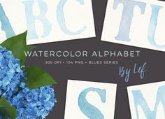 Blue Watercolor Alphabet Graphics by By Lef on @creativework247