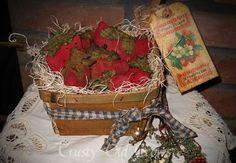 Primitive Strawberries in Basket by crustyoldcrows on Etsy