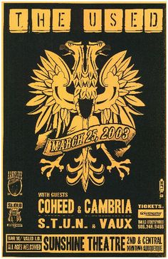 Original concert poster for The Used and Coheed & Cambria at The Sunshine Theatre in Albuquerque, NM in 2003. 11 x 17 inches on thin paper.