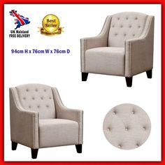 Retro Vintage Armchair Upholstery Seat Classic Antique Living Room Furniture NEW